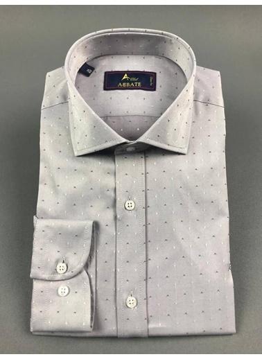 Abbate Kolay Ütülenır Klasık Yaka Armürlü Slım Fıt Gömlek Gri